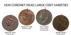 1839 Coronet Liberty Head Large Cents All Varieties Matron Early Copper Penny: Value and Prices