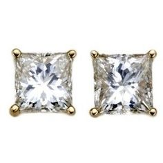 18k Gold, Princess-Cut, Diamond 4-Prong Stud Earrings (1/3 cttw, H-I…