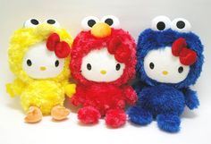 Sesame St. Hello Kitty. I want the cookie monster~~