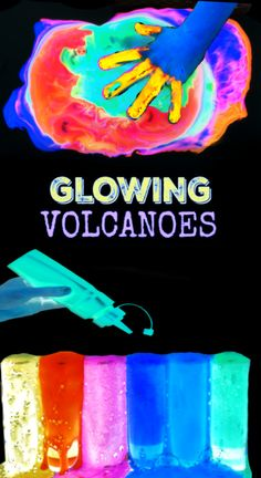 How to make glowing rainbow eruptions. Volcano science for kids. Science Experiments For Preschoolers, Cool Science Experiments, Science Lessons, Science For Kids, Science Projects, Projects For Kids, Science Education, Toddler Preschool, Preschool Activities