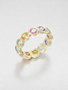 Temple St. Clair Mixed Sapphire & 18K Gold Eternity Ring (=)