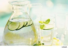 Cucumber water. Extra vitamins and easier to drink than plain water.