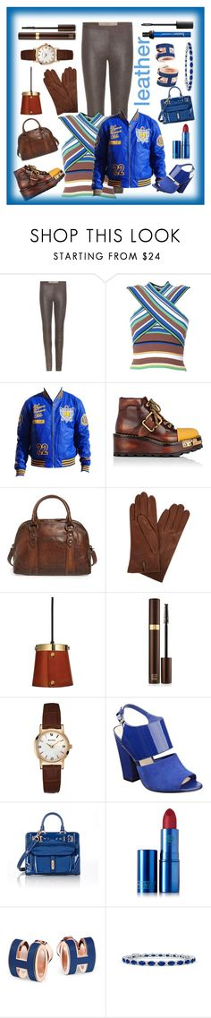 """""""leather"""" by priyaarun ❤ liked on Polyvore featuring Rick Owens, MSGM, Prada, Frye, Dents, Tom Ford, Bulova, Nine West, Fontana Milano 1915 and Lipstick Queen"""