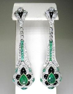 Art deco teardrop earrings in platinum with ~3cts emeralds, ~2.3cts diamonds and onyx