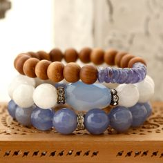 Boho Chic Sandalwood and Tanzanite Stretch Bracelet,  Yoga Bracelet by LaliJewelryShop