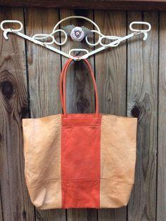 Banana Republic Leather ToTe Bag Basic Market  ShoPPeR w/ Orange-Red Stripe  #BananaRepublic #TotesShoppers