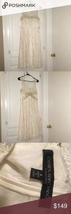 Carmen Marc Valvo Collection Lace Overlay Dress Sleeveless Lace Overlay Fit and Flair Dress with Gold Sequin Detail. Cream. Excellent Pre-Owned Condition. Carmen Marc Valvo Dresses