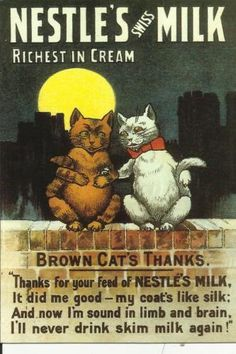 No kitties...not even vintage kitties...should drink milk. But it sure is a cute add!