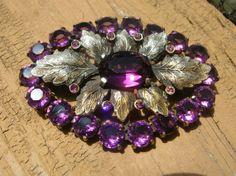 Stunning purple art nouveau rhinestone brooch, vintage pin,leaves