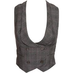 Double-Breasted Tartan Wool Waistcoat ($710) ❤ liked on Polyvore