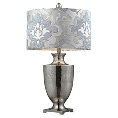Antiqued mercury glass table lamp with a damask shade     Product: Table lamp    Construction Material: Glass    ...