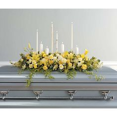 Sympathy and Funeral Flowers for the Casket Dade City Florist: Flowers and Gifts Galore Funeral Sprays, Funeral Urns, Casket Flowers, Funeral Flowers, Church Flowers, Funeral Floral Arrangements, Flower Arrangements, Yellow Carnations, Yellow Roses