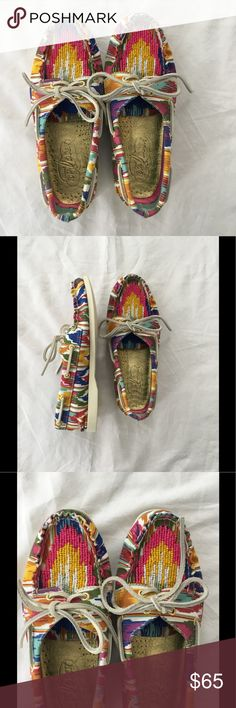 NWOT multicolor beaded Sperry Top-sider NWOT multicolor beaded Sperry Top-spiders. These shoes are so fun! Bright, vibrant fabric pattern with beading on the front top and tongue of shoe. Limited edition. These are gorgeous! Sperry Top-Sider Shoes