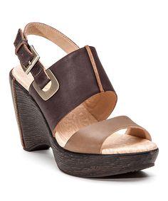Love this Jambu Brown & Khaki Gem Leather Platform Sandal by Jambu on #zulily! #zulilyfinds