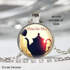Tea Necklace, Coffee, Alice in Wonderland, Morning Pendant, chain included X232