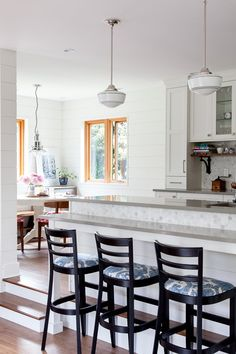 Before & After--Kitchen & Breakfast Nook — The House Diaries Backsplash For White Cabinets, Kitchen Backsplash, Beadboard Backsplash, Mirror Backsplash, Stone Backsplash, Herringbone Backsplash, Backsplash Ideas, Sunken Living Room, Living Room Kitchen