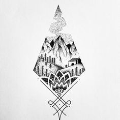 Geometria abstract mountain tattoo