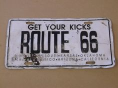 Vintage 1960's Route 66 License Plate by russnmt on Etsy