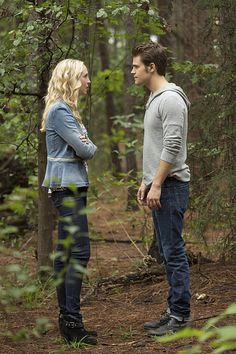 """The Vampire Diaries -- """"The More You Ignore Me, The Closer I Get"""" -- Image Number: -- Pictured (L-R): Candice Accola as Caroline and Paul Wesley as Stefan -- Photo: Bob Mahoney/The CW -- © 2014 The CW Network, LLC. All rights reserved. Vampire Diaries Spoilers, Serie The Vampire Diaries, Vampire Diaries Seasons, Vampire Diaries The Originals, Stefan Salvatore, Stephan And Caroline, Caroline Forbes, Paul Wesley, The Vampires Diaries"""
