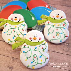 Snowman Christmas lights cookie