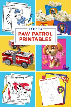 Printable Paw Patrol Activity Sheets - There are coloring pages, a joke book, a paper fire truck craft, DIY Paw Patrol Badge and lots more!
