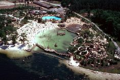 """The """"theme"""" of River Country was old-fashioned swimming hole, with pools and crazy waterslides that used water pumped in from Bay Lake.  Via disneyparks.disney.go.com"""