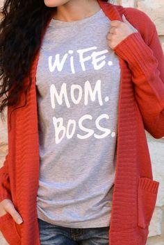 Wife. Mom. Boss. Tee - Heather Gray