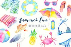 Beach Party Watercolor Clipart Printable hand by PaperSphinx
