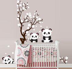 Pandas and Cherry Blossom Tree Panda Decal Panda by InAnInstantArt, $75.00