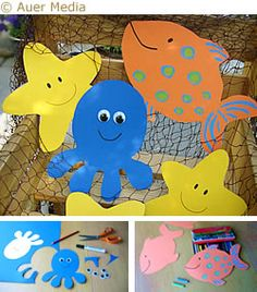 "Sea crafts - Sea decorations - Print out templates of starfish, fish and octopus ""ocean life"" Ocean Crafts, Vbs Crafts, Daycare Crafts, Beach Crafts, Summer Crafts, Toddler Crafts, Preschool Crafts, Crafts For Kids, Starfish Crafts"