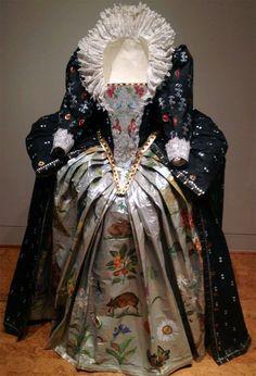 Paper Dress with Amazing Collar Detail - Papiers à la Mode: The Exquisite Art of Isabelle de Borchgrave - Baker Museum - Artis--Naples