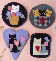 Cute Cats Wool Pins E Pattern - kitty brooch jewelry PDF primitive flowers felt kittens. $6.99, via Etsy.