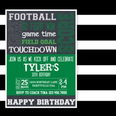Since I've got football on the brain, I figured I'd share one of our football party invitations. This one is sure to score big with a fan of any age. Our invitations can be customized to fit your party needs.