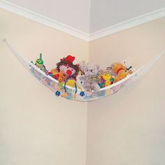 Toy Hammock Hanging Storage Net Stuffed Animals Toys Kids Organizer lb Features: Toy hammock and toy chain is ideal for use in bedrooms and playrooms. Toy hammock fits in most corners. Baby Toy Storage, Stuffed Animal Storage, Nursery Storage, Stuffed Animals, Bedroom Storage, Stuffed Animal Organization, Stuffed Animal Hammock, Stuffed Elephant, Stuffed Toys
