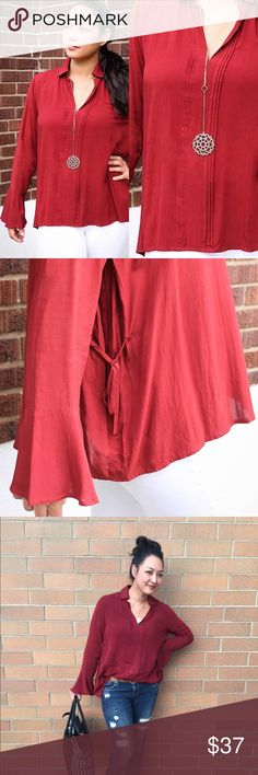 ⌛️Final Price⌛️the Jocelyn Top Burgundy blouse that is flowy and sweet. Delicately bell shape accentuates the sleeve. Tops Blouses