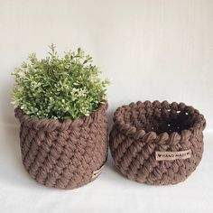 Crochet baskets Brown Set of 2 ~ handmade with T-shirt yarn. Diy Crochet Basket, Crochet Cord, Love Crochet, Beautiful Crochet, Crochet Decoration, Crochet Home Decor, Crochet Crafts, Crochet Projects, Crochet Planter Cover