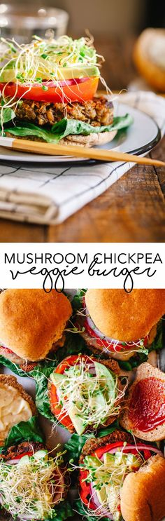 These Mushroom Chickpea Veggie Burgers fill you up and don't fall apart. Plus they're packed with delicious ingredients like whole grains and cheese! #vegetarian #veggieburger #burger #mushroom #chickpea #healthy | Brewing Happiness