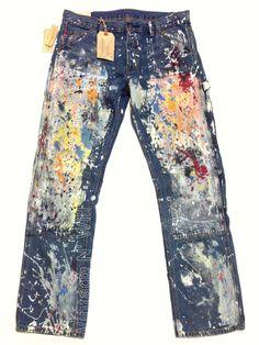 Denim Supply Ralph Lauren Straight Distress Paint Splatter Blue Jeans 33x32 (36)