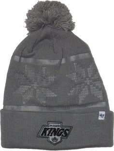 a41141ec5c1 Los Angeles Kings 47 Brand Ski Track Bobble Hat. Grey with the LA Kings Cuff  logo. One Size Fits Most