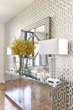 Bowerbird: Living Room Furniture. entryway. foyer. home decor and interior decorating ideas. hollywood regency modern take