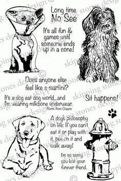 Rubber Cling Stamp Rubber Cling Stamp Dog 20-009 Whatzup Dog with Bone Stamp Whimsy Stamps Whatzup Dog Stamp Dog Rubber Stamp
