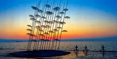 """Installed in 1997, the """"Umbrellas"""" on the seafront of Thessaloniki, Greece, are among the most famous works of Greek artist Georgios Zongolopoulos"""