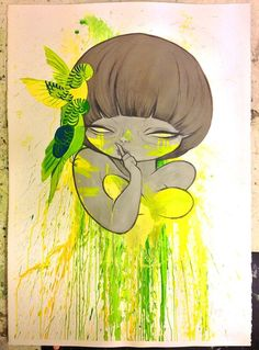 """Shhh"" AKA ""Lemon boobs"" by Cherry of Studio Killers. Gouache and pencil on aquarelle paper. Studio Killers, Fanart, Pretty Drawings, Song Artists, Creepy Art, Gorillaz, People Art, Types Of Art, Girl Cartoon"