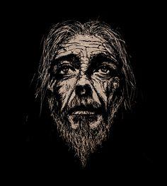 Jesus Christ - Forever Old by teokon, Handmade woodcut 26x30 cm.