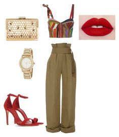 A little army with red by staciapandalover on Polyvore featuring polyvore, fashion, style, Rosie Assoulin, Schutz, DKNY and clothing