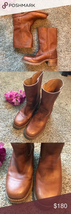 Frye Campus Boots Frye Campus boots short, beautiful saddle color. These boots are amazing! They sadly are just a little too big for me. They have minimal signs of wear, in great condition. They say Size 7, but they are slightly bigger than my other Frye size 7s. I think they will fit a 7.5-8 best. 9in shaft, 2in heel, sole of foot is 10.5 in length. Frye Shoes