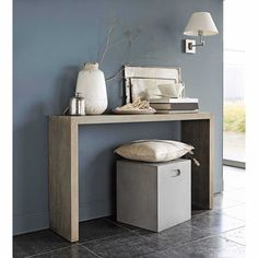 Whitewashed wood console W 130cm - Baltic