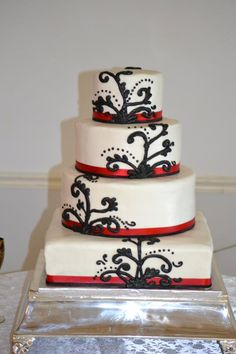 Red, Black and White Wedding Cake