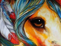 Spirit Eye - Horse - art, artwork, Baldwin, equine, horse, Marcia Baldwin, Native American, painting
