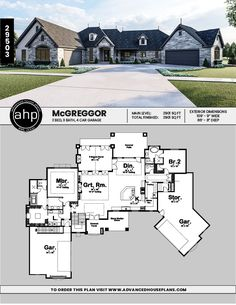 1 Story Craftsman House Plan | McGreggor   #advancedhouseplans #houseplans #floorplans #homeplans #designbuild #readytobuild #homebuilderplans #frenchcountryhomedesign #customhomedesign #customhome #curbappeal #onestoryhomes #homelayout #homeexteriorideas #photorealistic #rendering #graystone #uniquehomedesign French Country House Plans, Country House Design, Unique House Design, Craftsman Style House Plans, Basement House Plans, Craftsman Bungalows, Story House, Small House Plans, House Layouts